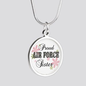 Air Force Sister [fl camo] Silver Round Necklace